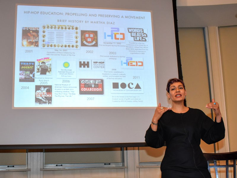 Martha Diaz and slide of hip hop history