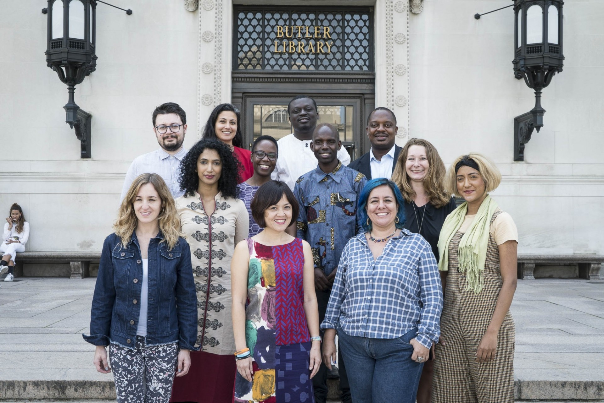 The inaugural cohort of Obama Foundation Scholars pictured in front of Butler Library.