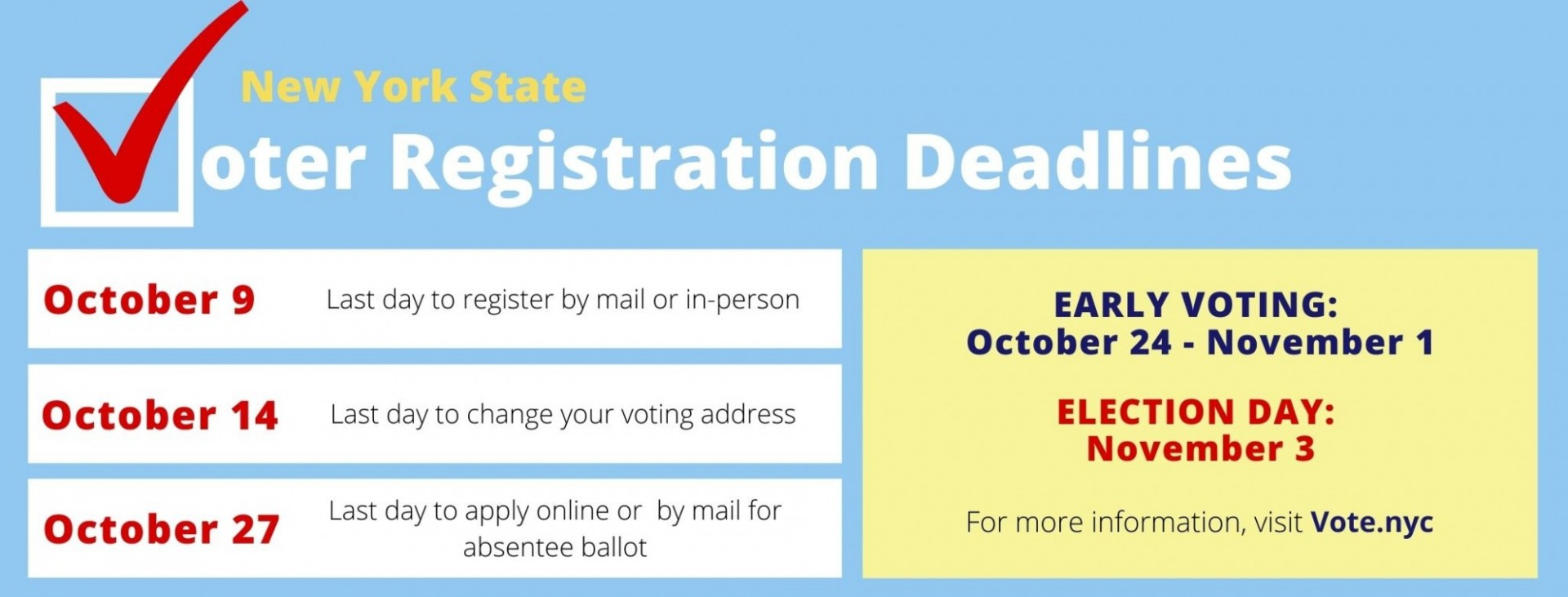 New York State 2020 Voter Registration Deadlines