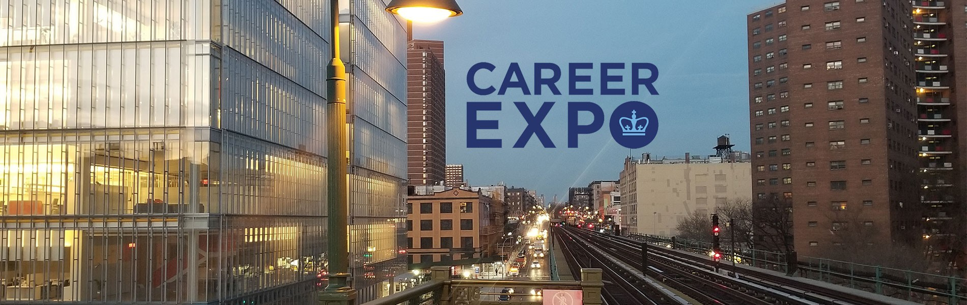 Career Expo with manhattanville campus as backdrop