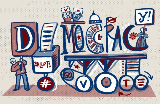 Drawing expressing democracy and voting.